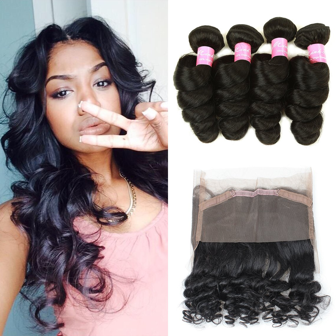 Mink Hair Loose Wave with 360 Frontal (14 16 18+12) 7A Grade Brazilian Loose Wave Bundles Virgin Human Hair Extensions with 360 Free Part Lace Frontal Closure Natural Color