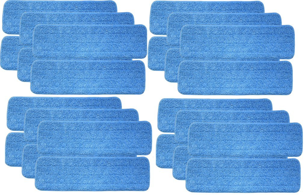 Turkey Creek Essentials 24 Microfiber Mop Pads 18 Inch Washable Commercial Quality, Replacement Refills for Hook and Loop Flat Mops - Use Wet or Dry, 18'' L X 5.5'' W, 24Pk