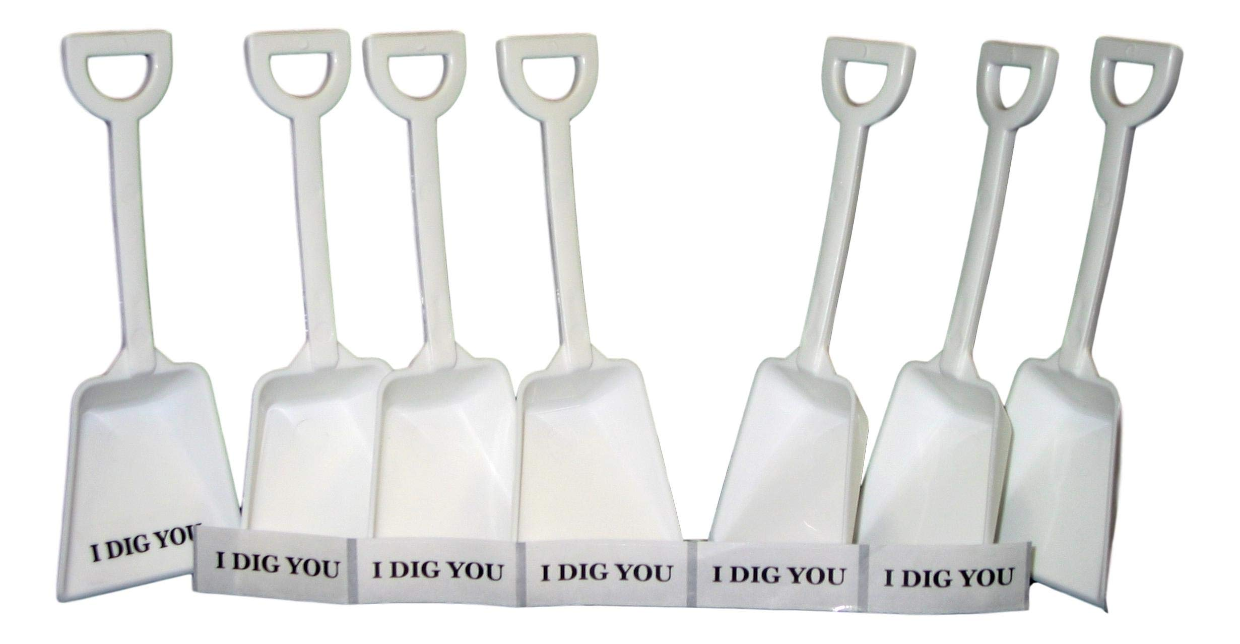 Small Toy Plastic Shovels White, 100 Pack, 7 Inches Tall, 100 I Dig You Stickers by Jean's Plastics
