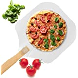 Aluminum Metal Pizza Peel, Pizza Spatula Paddle for Pizza Stone with Foldable Wood Handle Easy Storage Pizza Paddle for Bakin