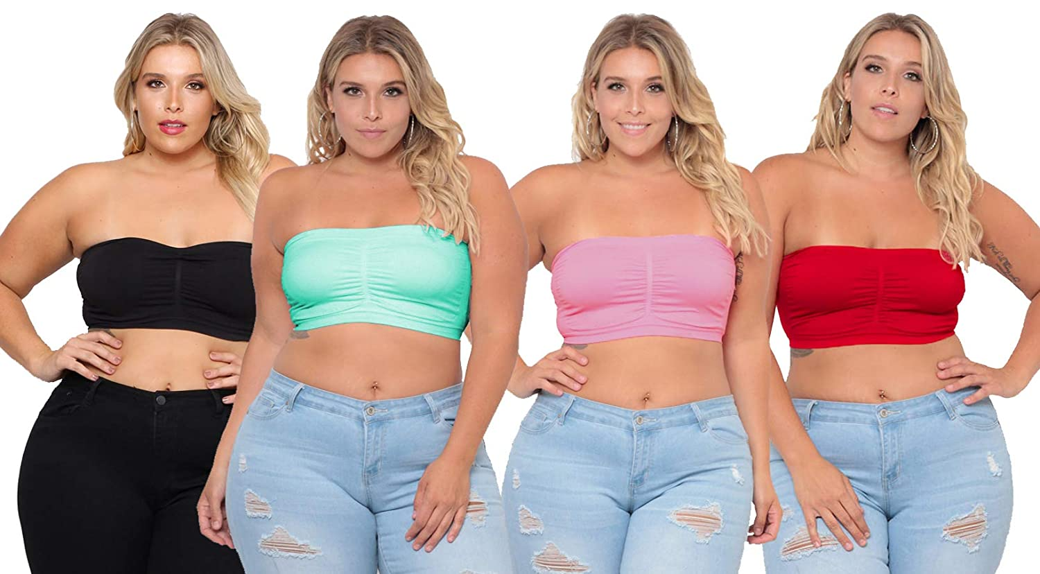 1e9bdcbb135d1 Dinamit Jeans Plus Size Tube Top Strapless Seamless Bandeau Bra (with  Removable Padded) Sold in 2 or 4 Pack at Amazon Women s Clothing store