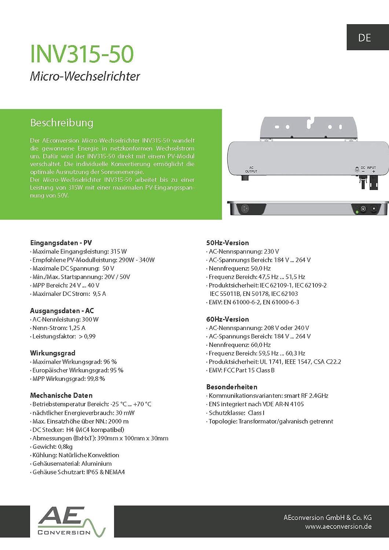 1 INV350-90-EU PLC Convertisseur pour alimentation directe en r/éseau domestique PV Aeconversion