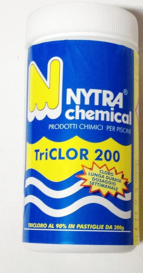 TRICLORO en pastillas 90%-pasticche 200 g CLORO piscina 1 KG para ...