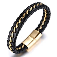 "Halukakah ""HONOUR"" Men's Genuine Leather Titanium Bracelet Black & Golden 8.46""(21.5cm) with FREE Giftbox"