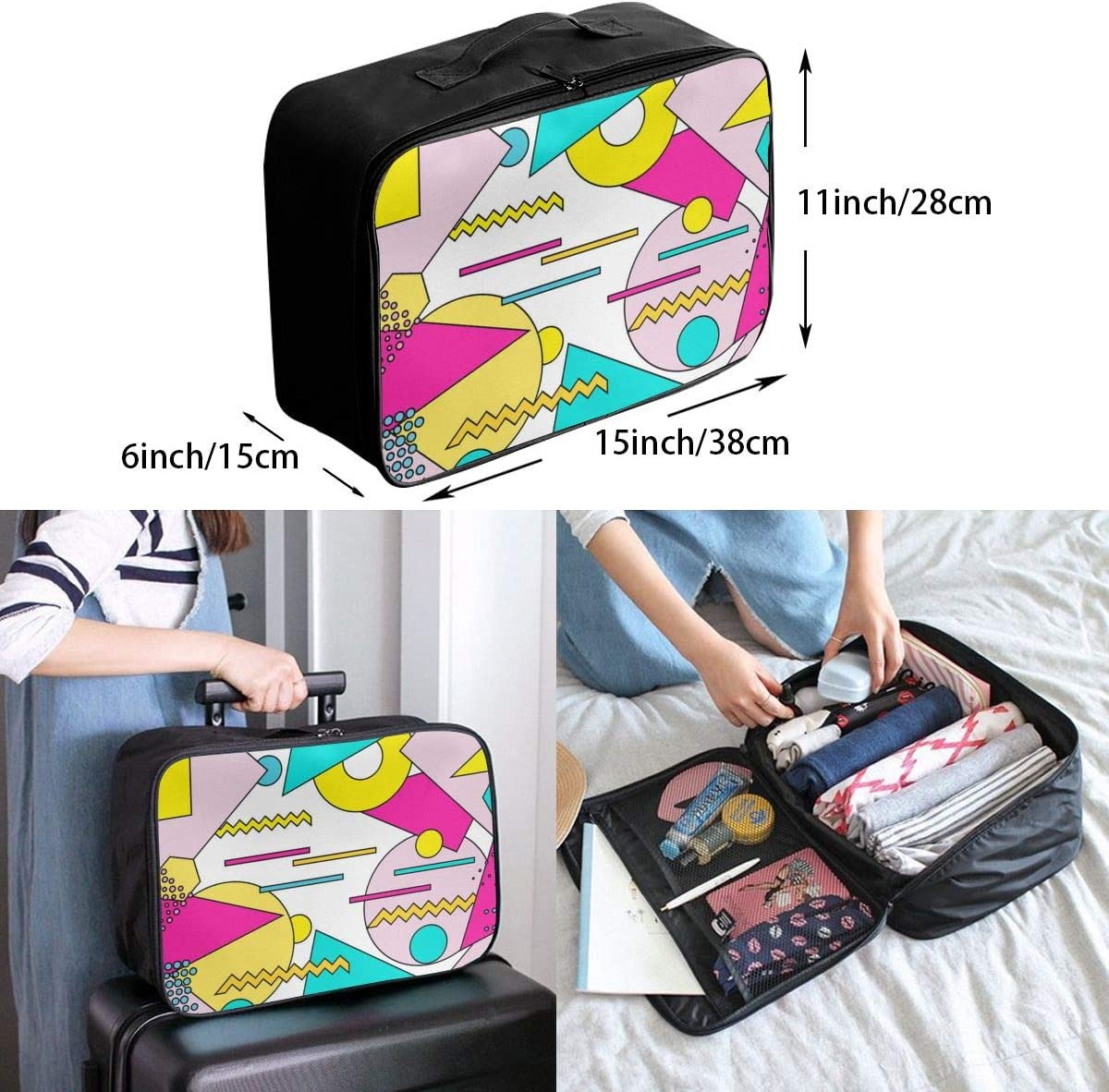 Yunshm Geometric Objects Customized Trolley Handbag Waterproof Unisex Large Capacity For Business Travel Storage