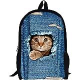 Moolecole Unisex 3D Patrones De Gato Daypack Del Morral De Las Muchachas De Bolsas De Hombro Ocasional Patrones Bolsa De Escuela De La Mochila De Dibujos Animados Perfecto Para La Escuela Y Viajes