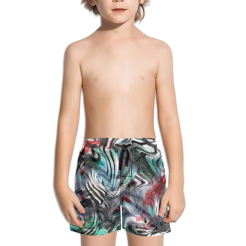 FullBo Camouflage African Leopard Fabric Design Little Boys Short Swim Trunks Quick Dry Beach Shorts
