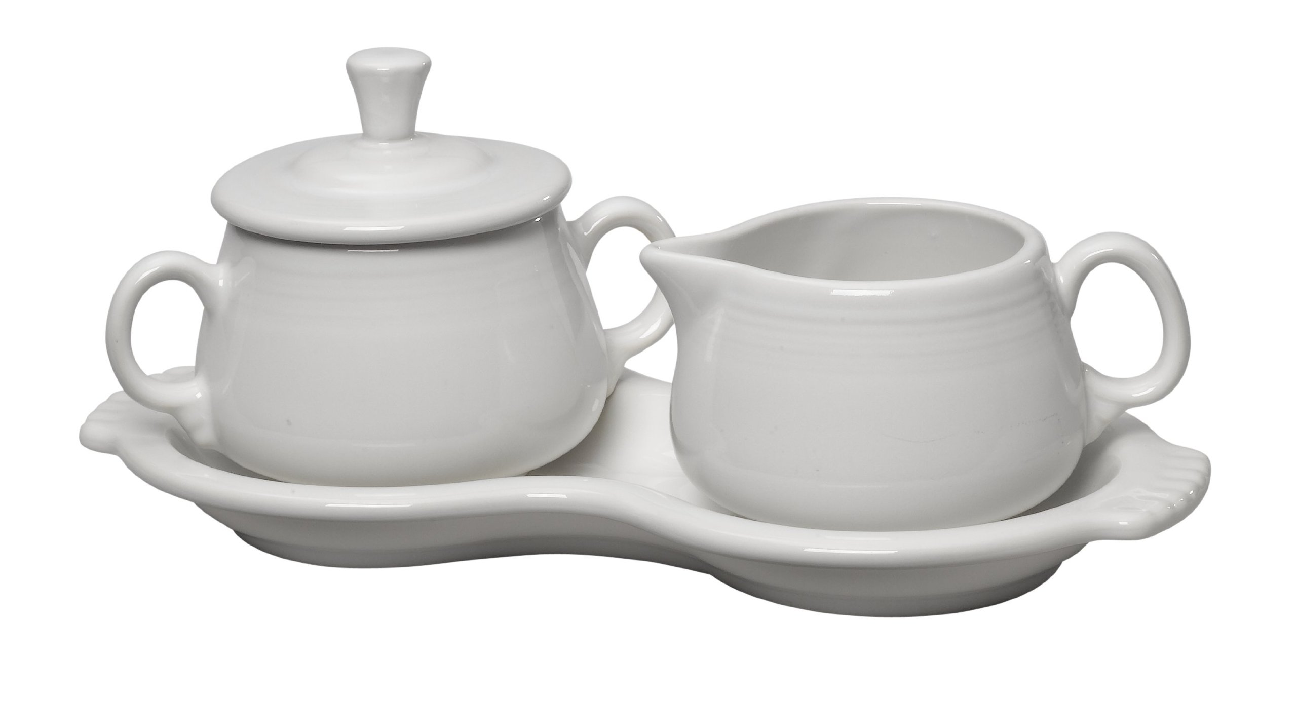 Fiesta Covered Creamer and Sugar Set with Tray, White