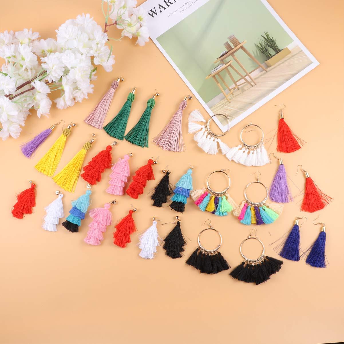 Minkissy B/öhmische Quaste Ohrringe bunten Faden lange geschichteten Fransen Ohrringe F/ächerform Ohrringe f/ür Festival Party Geschenk 15 Paare