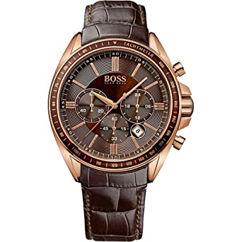 Hugo Boss Men'S 1513093 Brown Leather Quartz Watch Noticeable