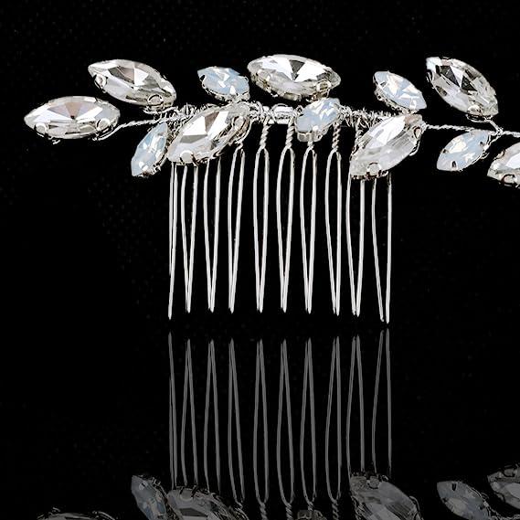 handcess boda peines de pelo Clips de ópalo brillantes para novia, diseño de flores, accesorios para el pelo para Novias y damas de honor (plata): Amazon.es: Belleza