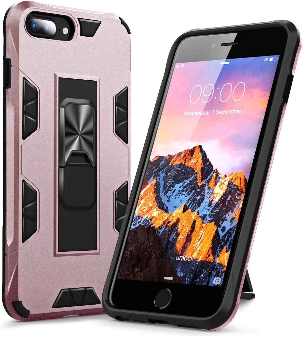 KUMEEK for iPhone 7 Plus Case, iPhone 8 Plus Case, Kickstand Shockproof Armor Heavy Duty Dual Layer Full Body Protective Rugged Cover Bumper Case for iPhone 8 Plus/iPhone 7 Plus-Rose Gold
