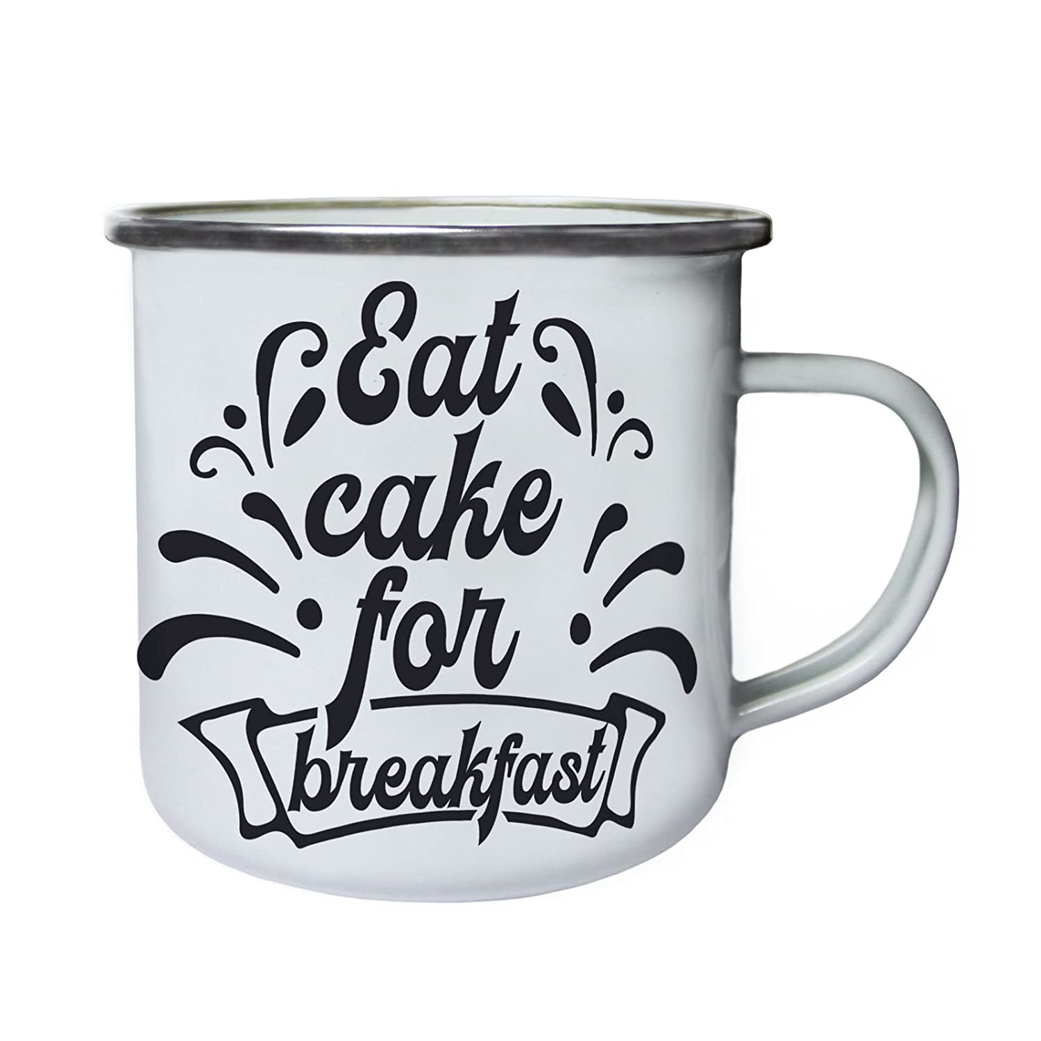 Eat cake for breakfast Retro,Tin, Enamel 10oz Mug bb331e INNOGLEN