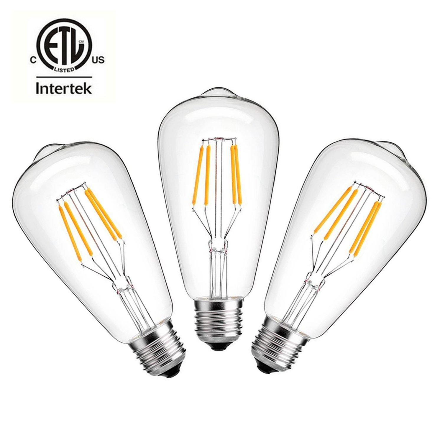 CMYK LEDエジソン電球 調光可能 ST64形 ビンテージ 透明 4W 50W相当 2200K E26ベース B01DDDNE1W 4W 6  4W
