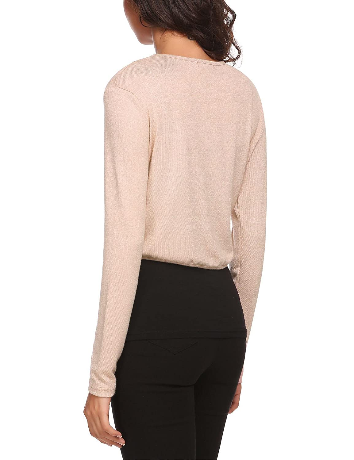 GoodKE HOTOUCH Women Knitted Long Sleeve Solid Open Front Bolero Shrug Top Shrugs Apricot