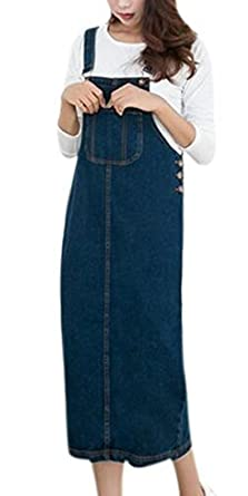 Amazon.com: Skirt BL Women\'s Vintage Plus Size Blue Romper Denim ...