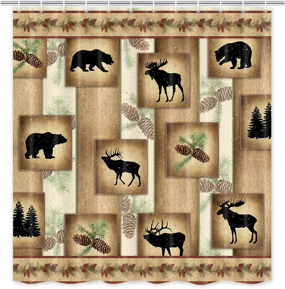 MERCHR Rustic Decor Fabric Shower Curtain, Cute Bear Deer and Forest Design, Country Style Wildlife Animal Art Vintage Farmhouse Lodge Cabin Cloth Shower Curtains Bathroom Accessories, 71X71 Inches: Home & Kitchen