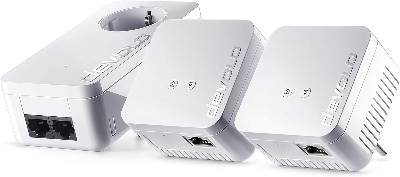 Devolo dLAN 550 WiFi Network Kit PLC - Adaptadores de red Powerline (500 Mbps, 3 x Powerline adaptadores, 1 x puerto LAN, enchufe WiFi, amplificador de señal WiFi, mejorar WiFi, WiFi Move), blanco