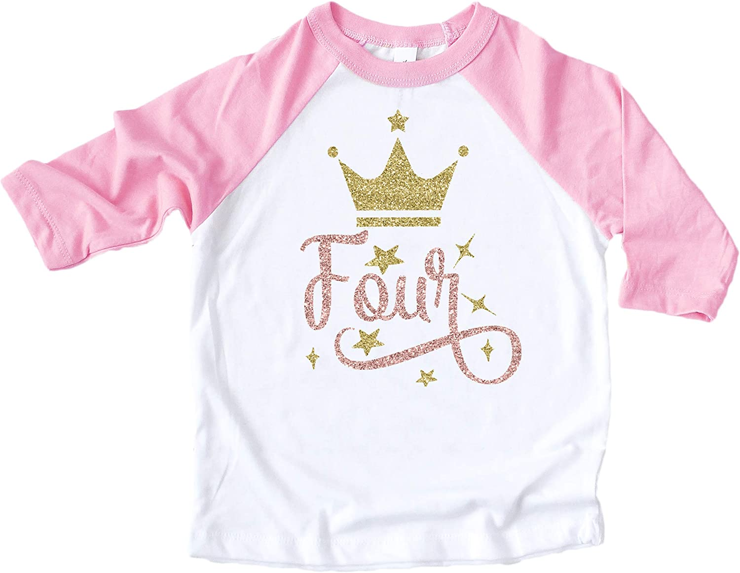 Olive Loves Apple Girls 4th Birthday Shirt Four Crown Princess Glitter Gold 4th Birthday Outfit