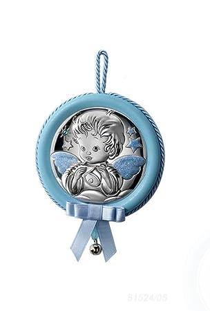 MEDALLA de CUNA ó COCHECITO, con cascabel y Angel de la Guarda EN PLATA BILAMINADA. Disponible en Rosa y Azul.: Amazon.es: Bebé