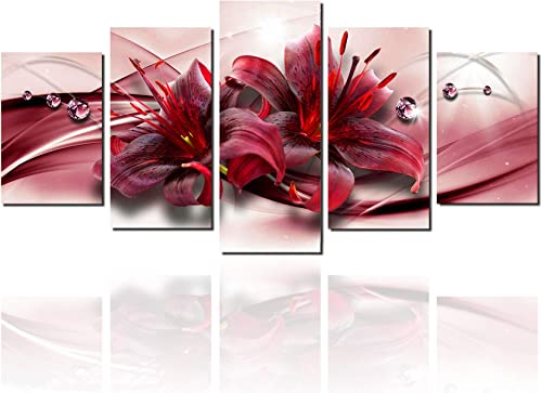 Meigan Art-Large Canvas Picture Wall Art Prints Floral Paintings Panel Red Flowers Decor Artwork RedFlower