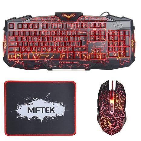 MFTEK Gaming Teclado y Ratón negro Crack