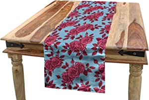 Amazon Com Ambesonne Rose Table Runner Vintage Blue Background With Sketchy Flowers In Pink Shades Nostalgic Theme Dining Room Kitchen Rectangular Runner 16 X 90 Pale Blue And Magenta Home Kitchen
