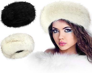 large luxury women/'s  thick fluffy  faux fur  winter headband  hat ear warmer