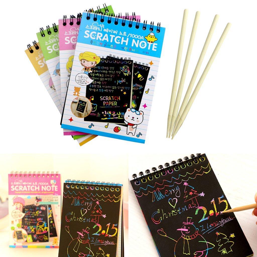 Exing Drawing Board Creative DIY Draw Sketch Notas para Ni/ños Juguete Cuaderno Scratch Note Negro Cart/ón