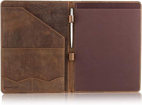 Italian English Tan Leather Business Padfolio Portfolio Organizer Folder Resume