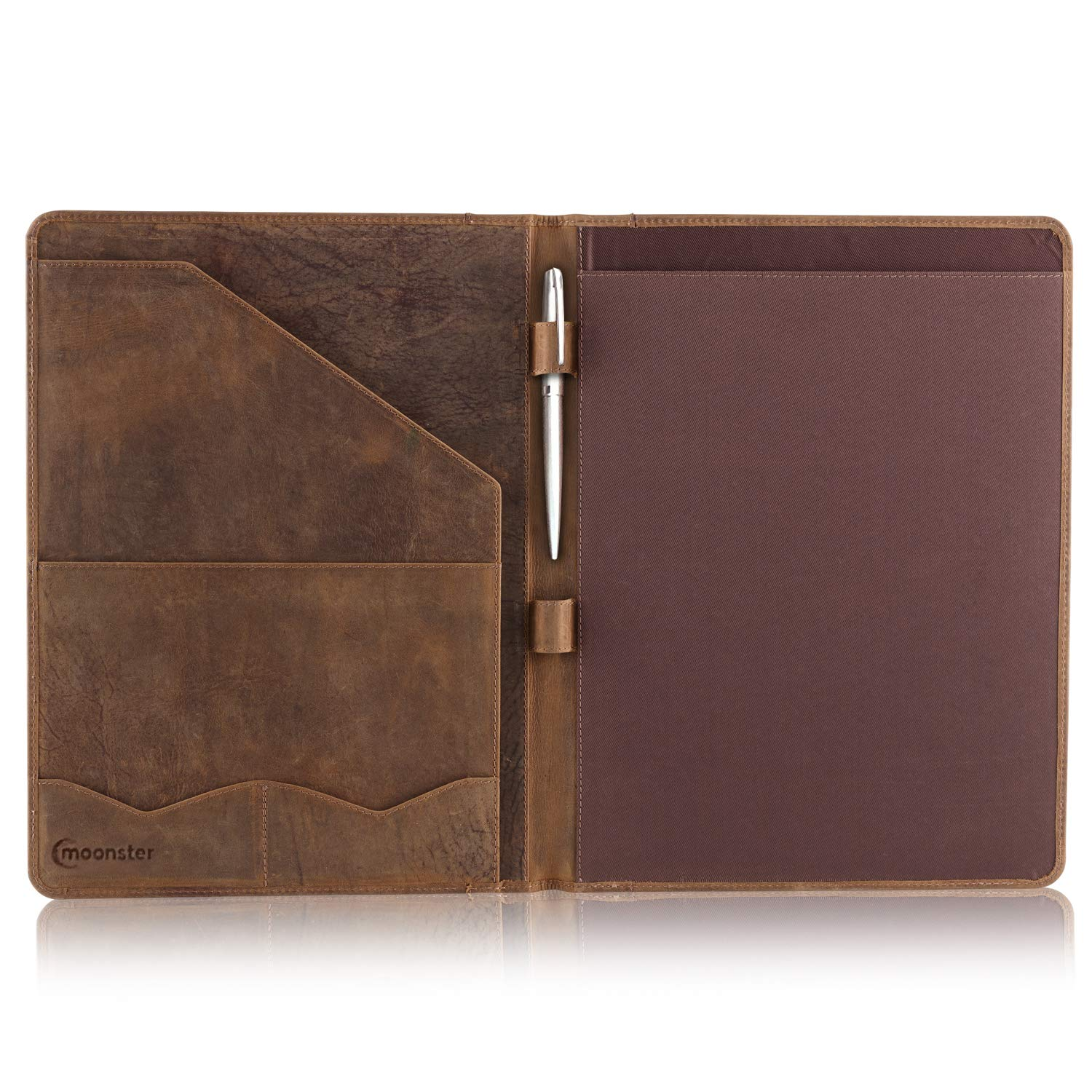 Leather Portfolio Professional Resume Padfolio - Document Folder & Organizer Folio for Letter-Size & A4 Writing Pad with Business Card Holder, Ideal Gift Portfolios for Men + Women by Moonster