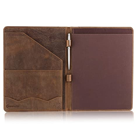 Leather Portfolio Professional Organizer Padfolio – Resume Folder with  Luxury Pen, Stylish Document Folio for Letter Size Writing Pad with  Business