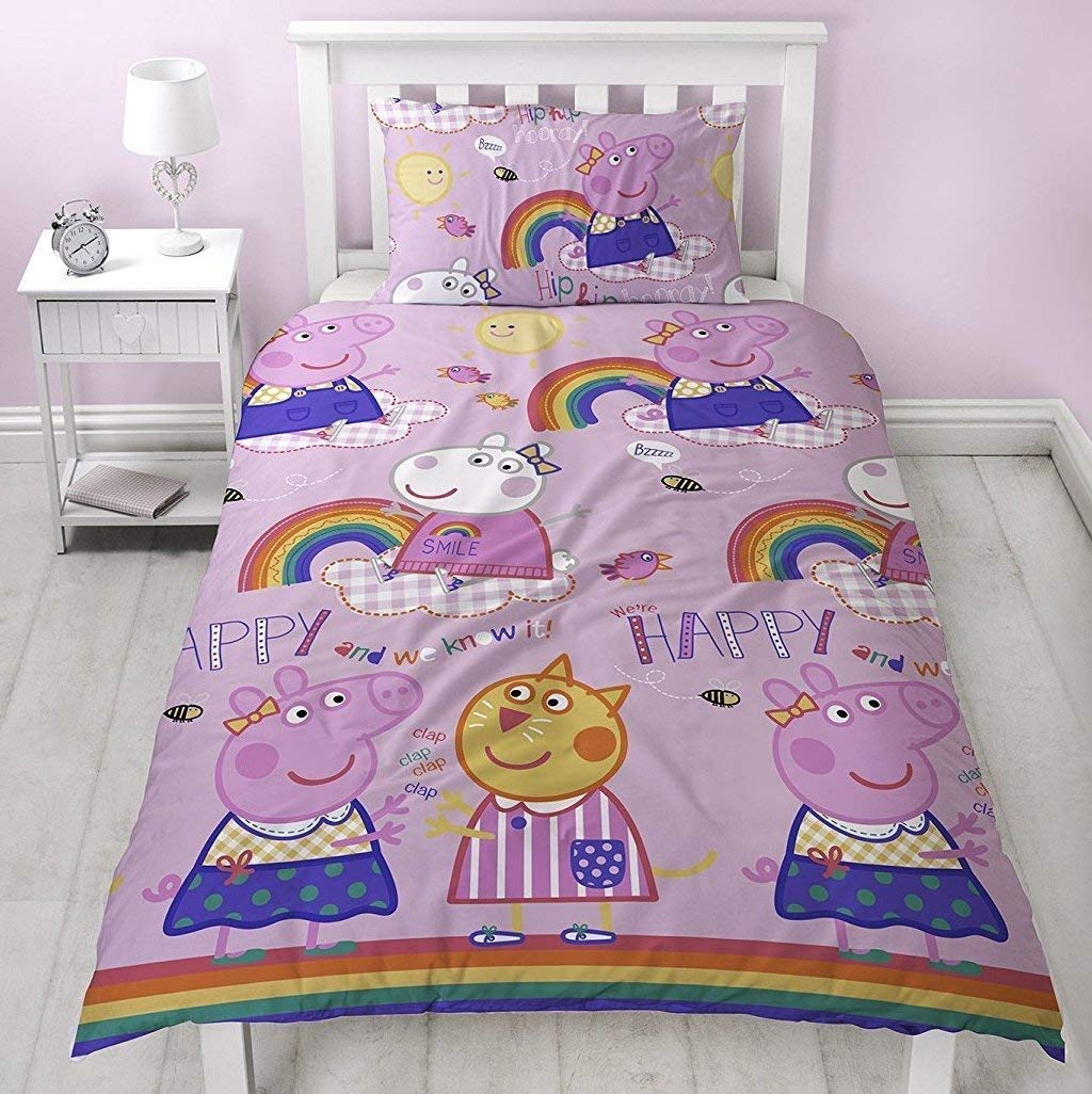 Peppa Pig Friends Duvet Cover With Matching Pillow Case – Two Sided Reversible PP1HOODS002UK1