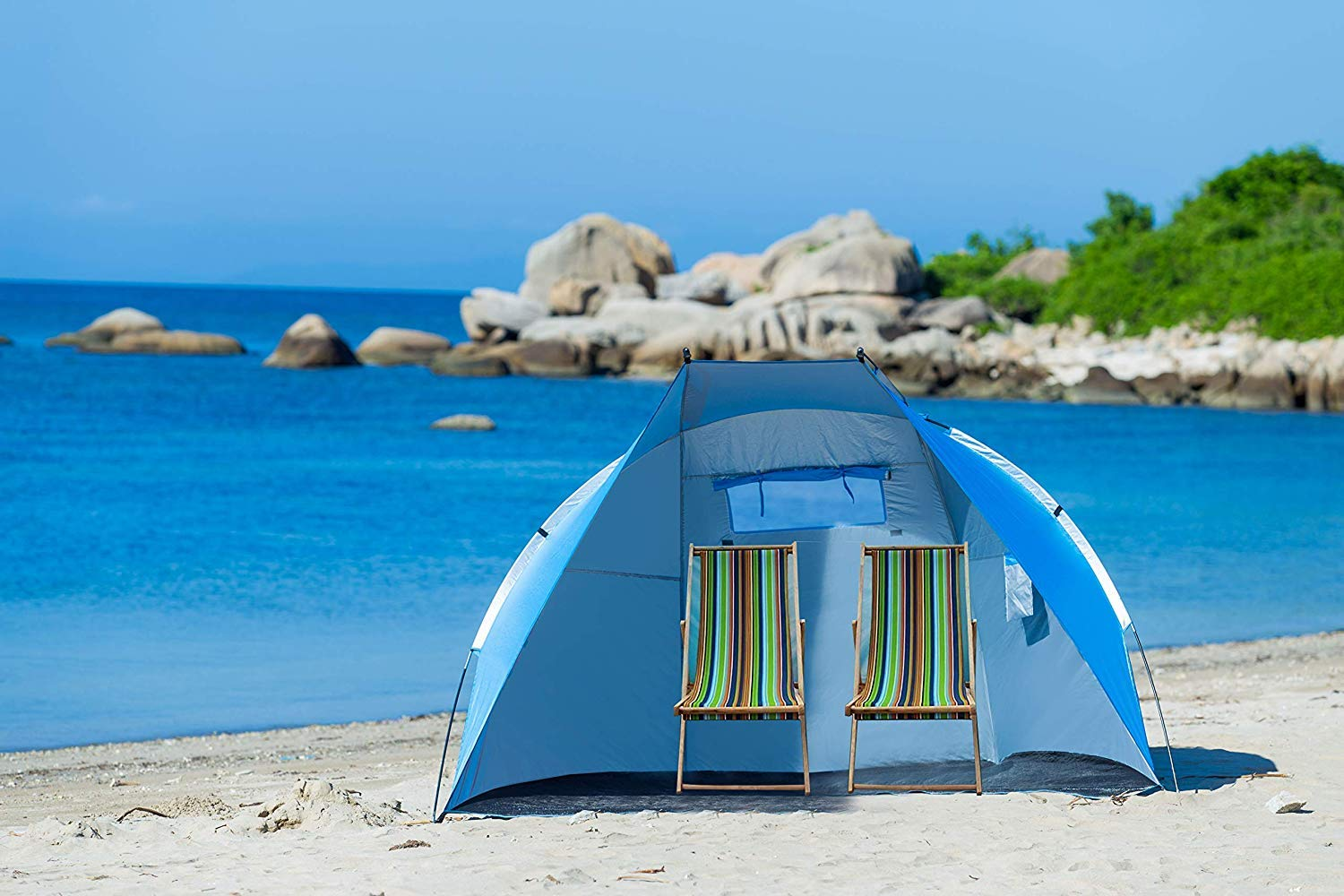 Extra Large Beach Cabana Tent Sun Shelter Sunshade Outdoor Portable UPF 50+, 94.5'' L x 47.2'' W x 55'' H,Light Blue (Blue) by Suhleir