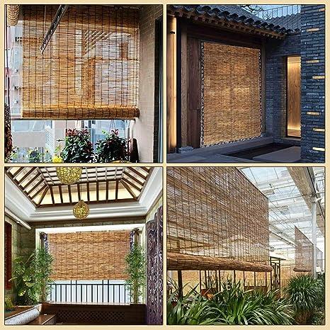 Koovin Persiana enrollables de bambú, Estores Romanas Naturales, Hechas de caña, persianas para Muebles orientales, hogar/salón de té, Personalizables: Amazon.es: Hogar