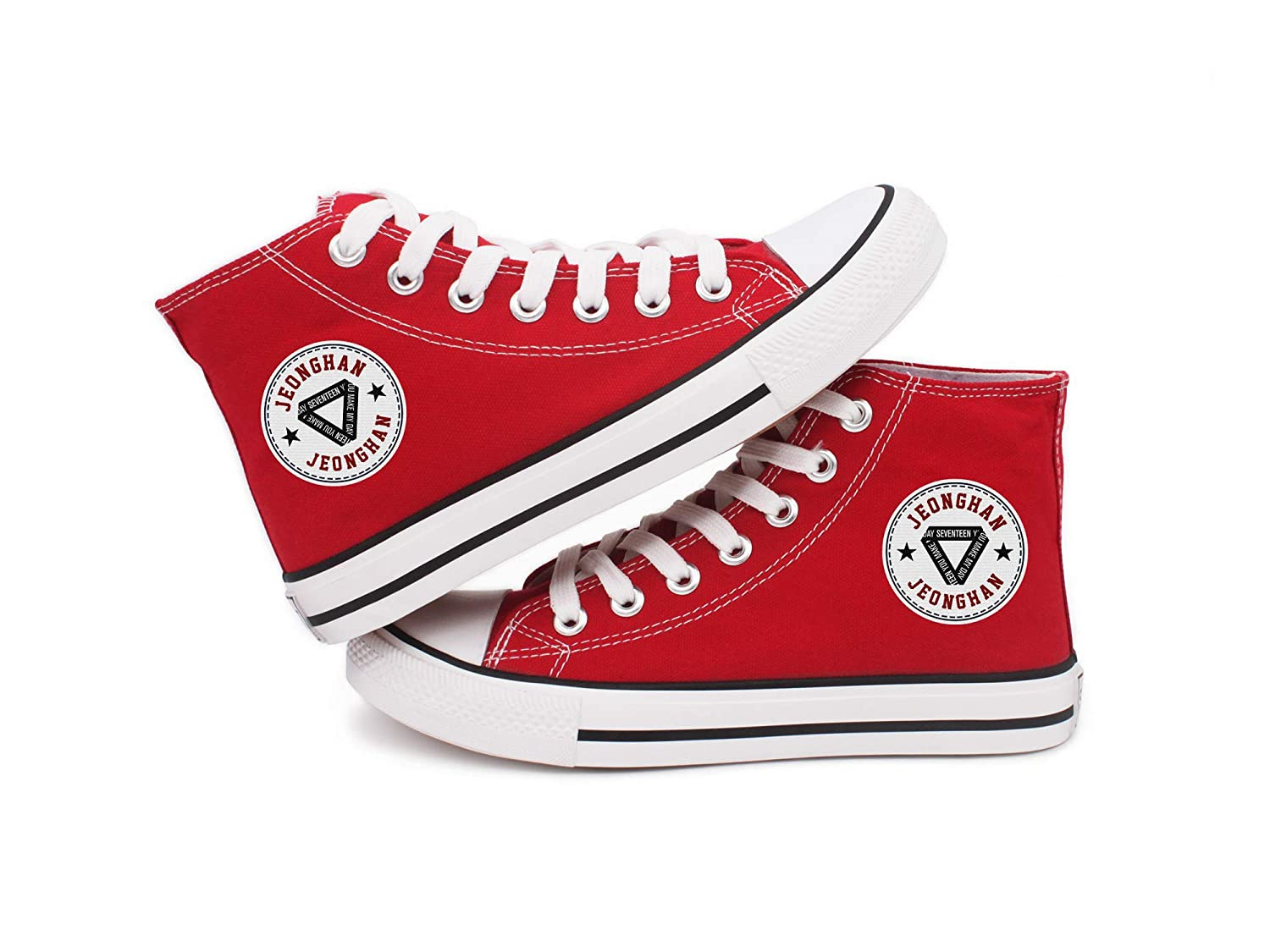 Fanstown Kpop Seventeen Sneakers Canvas Shoes Member Name Team Logo Round tag Stars high-Heels red Shoes