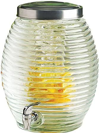 Circleware colmena enorme 3,5 galones vidrio Bebidas Dispensador de bebidas con infusor de frutas, espiga y tapa de metal, Torino Colección, ...