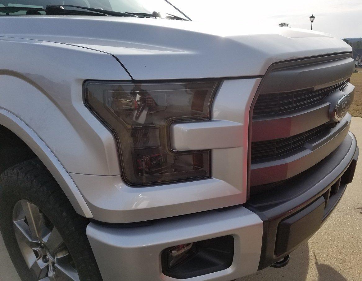 20/% Dark Smoke Precut Vinyl Tint Cover for 2015-2017 Ford F150 Headlights