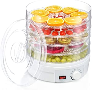 Food dehydrator,Countertop Portable Electric Fruit Dehydrator,Meat or Beef Jerky Maker, Fruits and Vegetable Dryer with 5 Stackable Trays, High-Heat Circulation