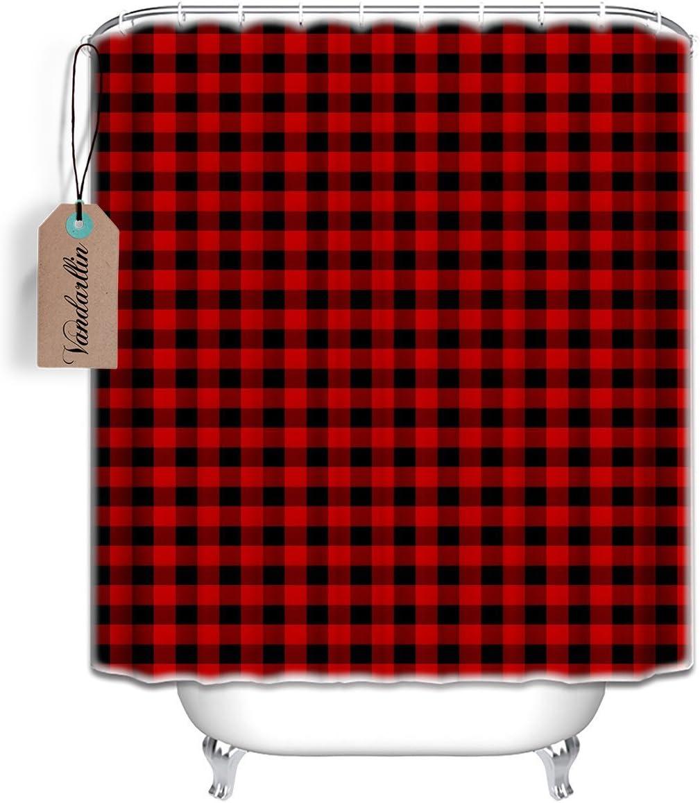 Vandarllin 66x72 Long Fabric Bath Shower Curtain with Plastic C-Rings Set for Home,Rustic Red Black Buffalo Check Plaid Pattern Designs