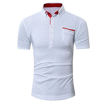 4895d552 Amazon.com: Men's Shirts,Casual Slim Fit Blouse Short Sleeves Dress Shirts  Flowy Button Down Tunic Summer Tops with Pocket: Office Products