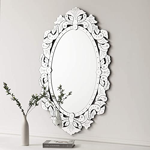 KOHROS Wall Mounted Squared Mirror, Venetian Mirror Decor for The Living Room, Bathroom, Bedroom W 27.5 x H 43.3