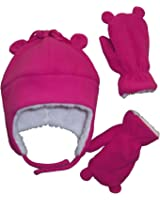 N'Ice Caps Little Girls and Baby Sherpa Lined Fleece Hat Mitten Set with Ears
