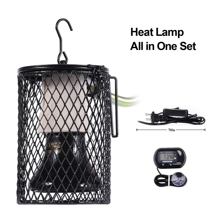 DGE Reptile Heat Lamp Bulb, Real 100 Watt Ceramic Heat Emitter Pet Coop Heater Kit for Chicken Lizard Turtle Brooder Snake, No Harm No Light, UL Listed