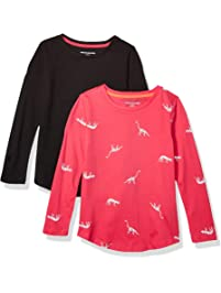 Amazon Essentials Girls' 2-Pack Long-Sleeve Tees