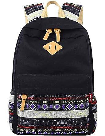 6619840927 Black Canvas School Bag Backpack Girls