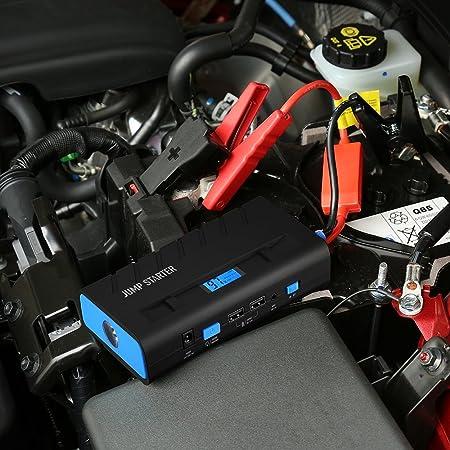 Jump Starter 13600mAh 500A, Topop Arrancador de Emergencia para Coche, Multi-Función y Portátil, Linterna LED, Dual USB Carga, Cargador de Batería para ...