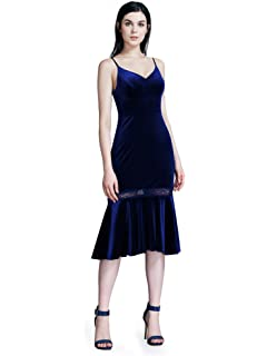 Ever Pretty Womens V Neck with Spaghetti Velvet Sleeveless Fishtail Prom Evening Party Cocktail Dresses 07331