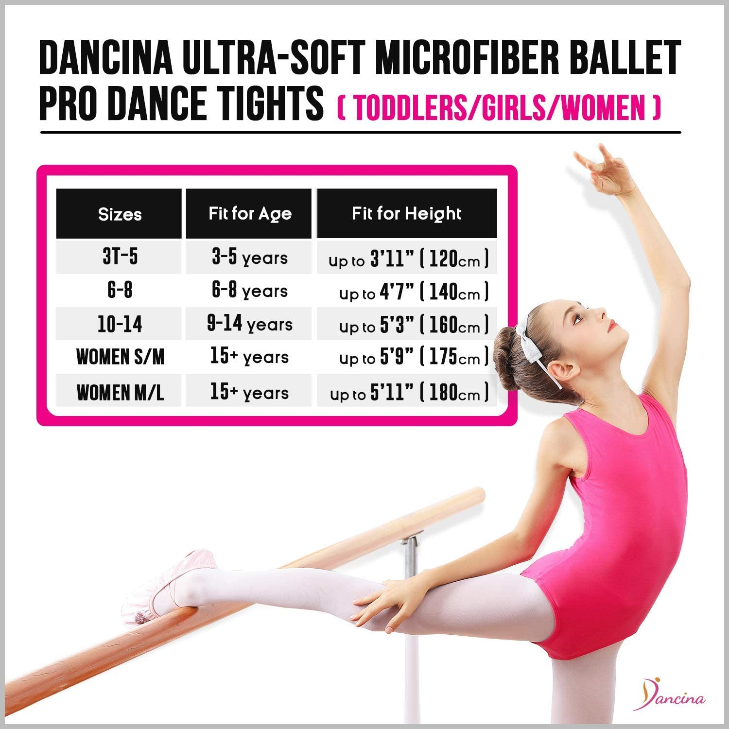 Girls Ballet Dance Tights Ultra-Soft Toddler Ballet Tights for Women