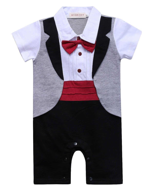 Kidsform Baby Bekleidungssets Strampler Jungen Anzug Gentleman Bodysuit Festliche Taufe Hochzeit Anzug Jungen Bodysuit
